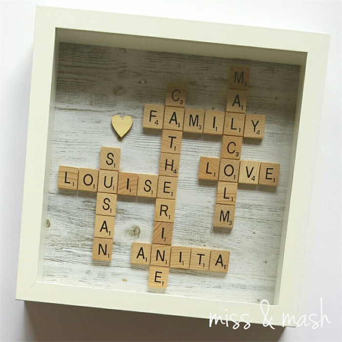 Custom Made Family Name Frame - Personalised Scrabble Art. Birthday ...