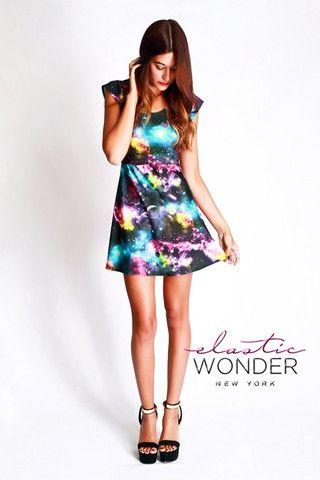 df6c3eb8d94 Galaxy Printed Nylon Spandex Skater Mini Dress - ElasticWonder.com