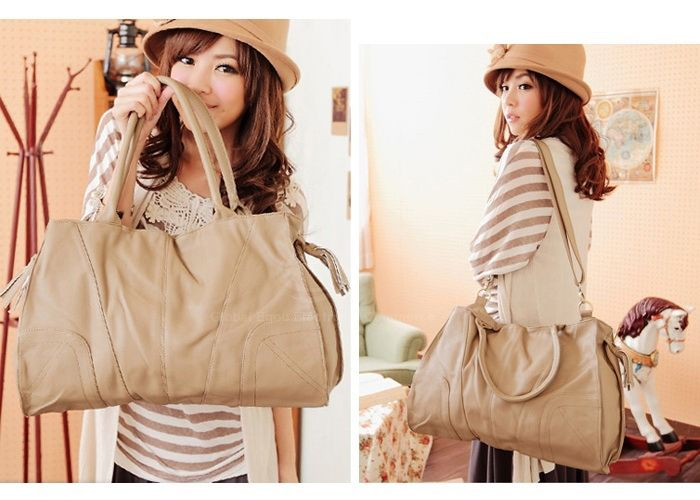 Laconic Trendy Casual Women's Shoulder Bag With Solid Color Stitching and Tassels Design (APRICOT) China Wholesale - Sammydress.com