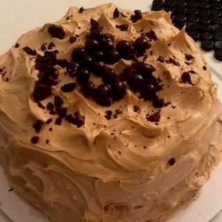 I made Chocolate Cappuccino cake with chocolate covered coffee beans for my dad, uncle, & aunt! #chocolatecoveredcoffeebeans