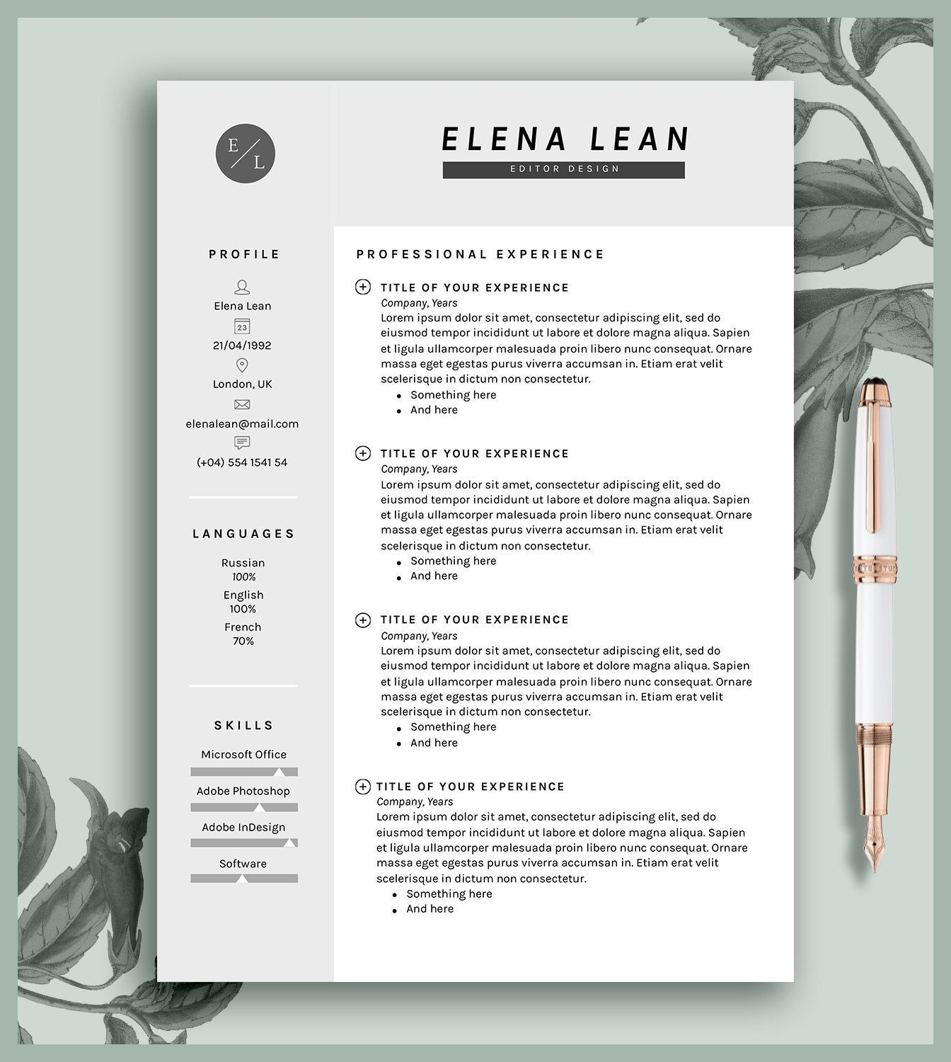 Resume Template 2 Pages Cover Letter Cv Printable Microsoft Word And Pages Digital Download Elena Lettering Resume Template Templates