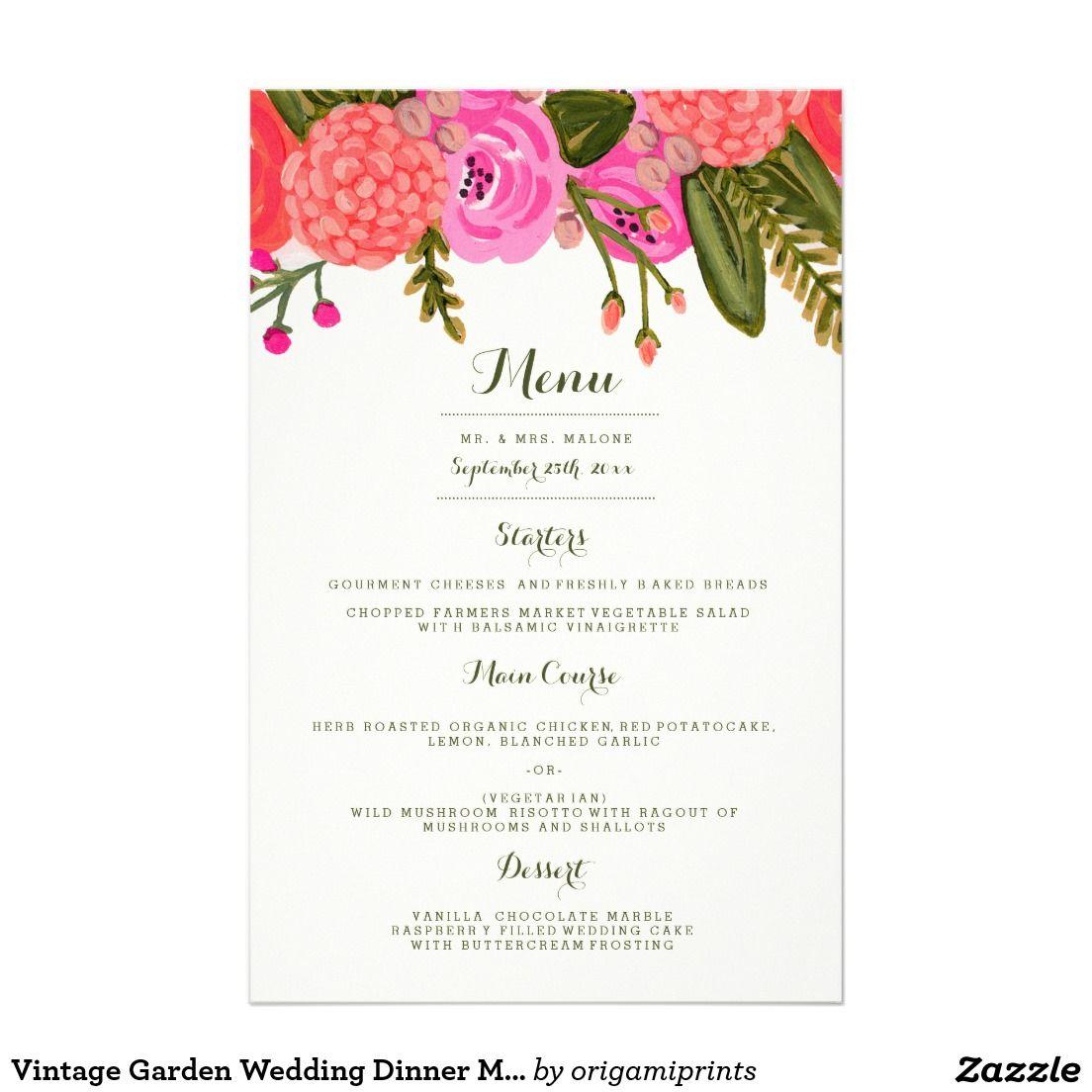 Vintage Garden Wedding Dinner Menu Wedding Dinner Menu Wedding