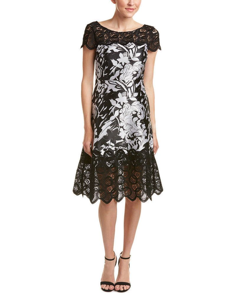 Kay Unger Womens A Line Dress Illusion Floral Jacquard Midi Formal ...