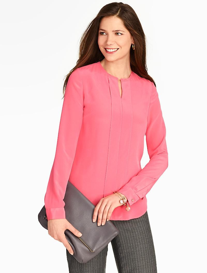Talbots Washable Silk Solid Pintuck Front Blouse Blouses And