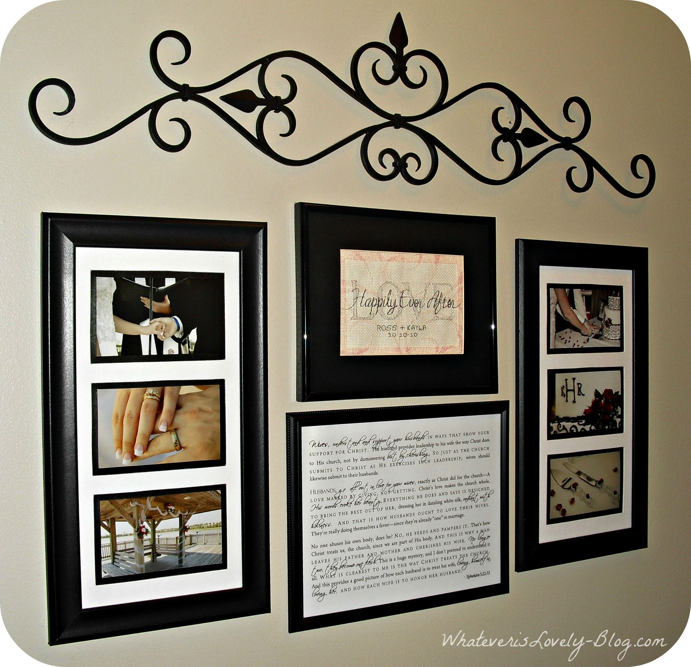 This wall dedicated to framed wedding photos and mementos is a this wedding wall collage is in the hallway between our master bedroom jeuxipadfo Gallery