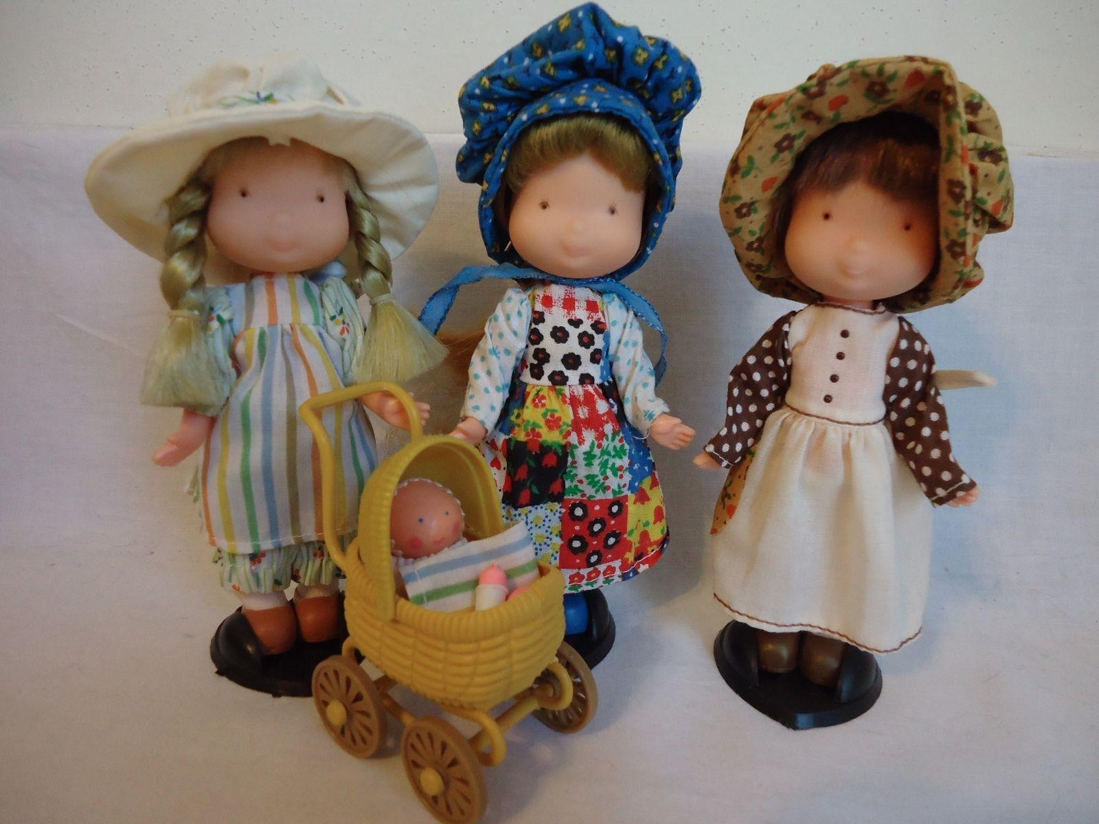 3 Vintage Holly Hobbie Dolls Knickerbocker Heather AMY