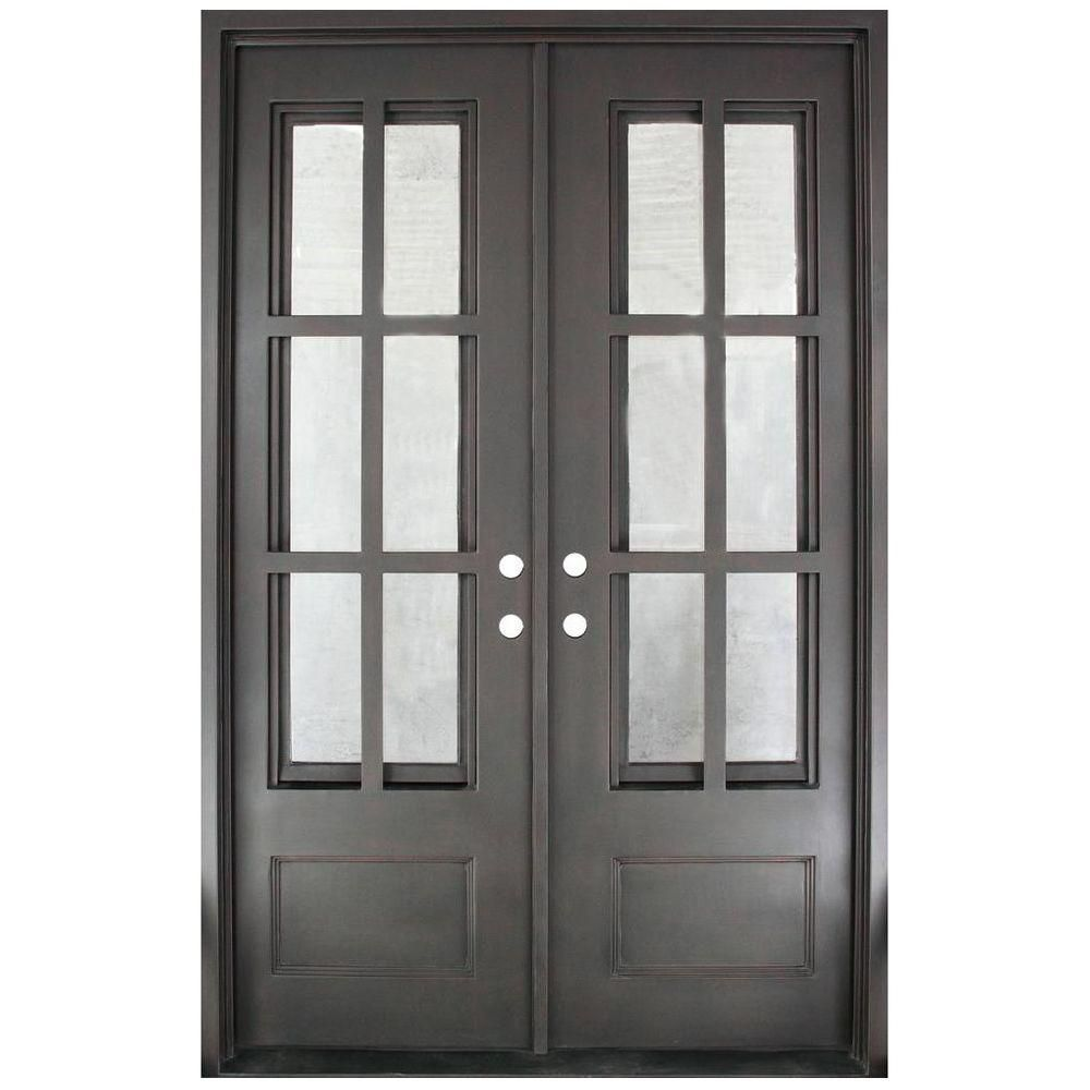 Iron Doors Unlimited 62 In X 97 5 In Craftsman Classic Clear 3 4 Lite Painted Oil Rubbed Bronze Wrought Iron Prehung Front Door Products Iron Front Door