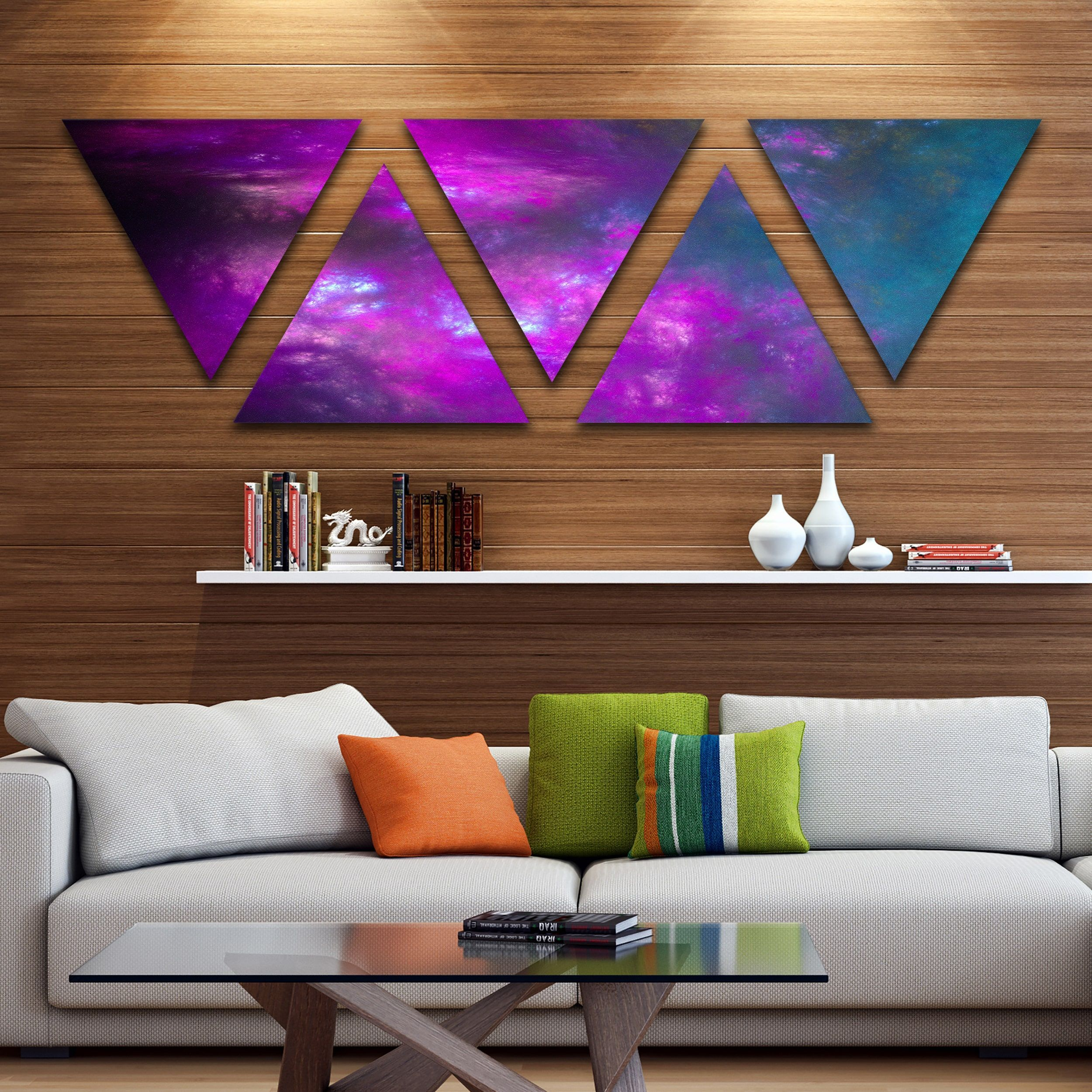 Designart Blue Fractal Planet Of Bubbles Contemporary Wall Art Triangle