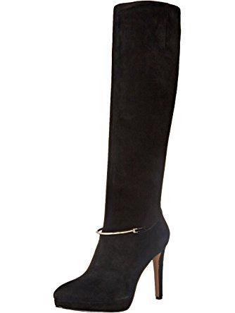 Nine West Women's Pearson Suede Knee High Boot, Black, 9.5 M US ❤ Nine