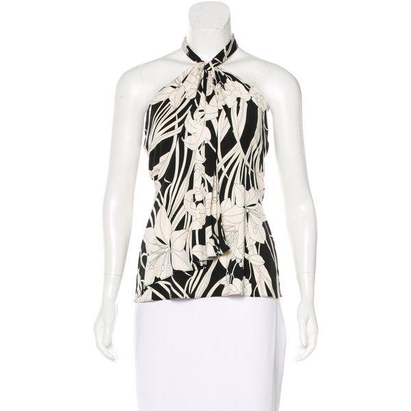 Pre-owned Elie Tahari Silk Halter Top ($80) ❤ liked on Polyvore featuring tops, black, floral halter top, elie tahari tops, patterned tops, tie halter top and elie tahari