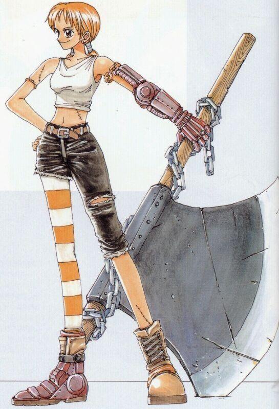 Normalement Nami devait être comme ça. Oda l'avait dessinée comme ça pour le manga à la base. On lui a dit qu'il en faisait trop comme d'habitude x)