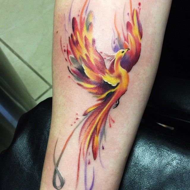 33 Minimalist Phoenix Tattoo Ideas: This One Even Has The Awareness Ribbon Worked Into It On