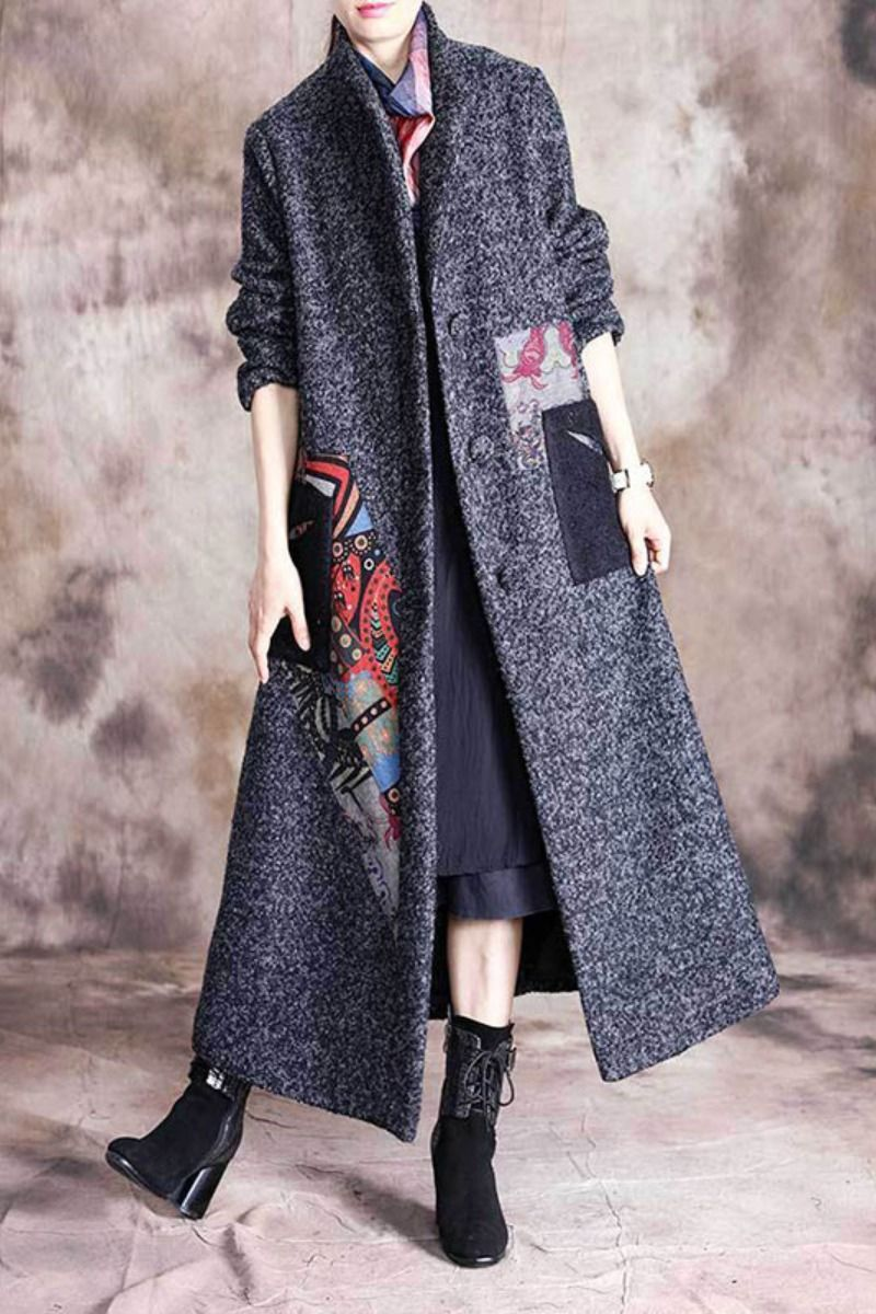 Folk Printed Patchwork Winter Overcoat Stand Collar Tweed Coat in Dark Gray Black One Size -   18 style Hijab winter ideas
