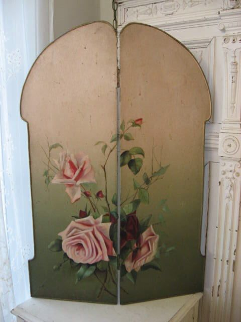 exquisite old vintage french hand painted fireplace screen with pink rh pinterest com High Heat Fireplace Paint Colors High Heat Fireplace Paint Colors