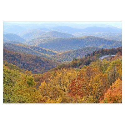 Autumn view of the Blue Ridge Mountains form the B Poster