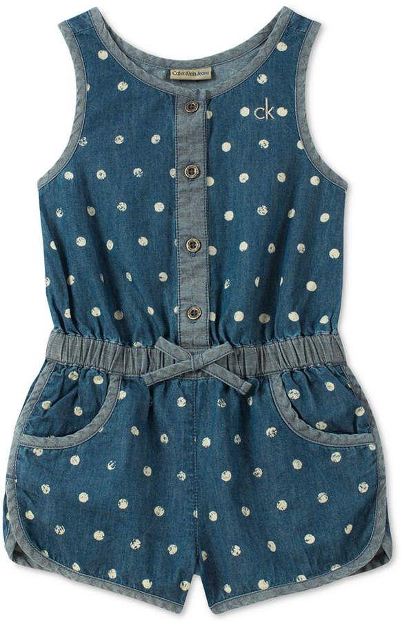 a55bf991940 Calvin Klein Baby Girls Printed Cotton Denim Romper