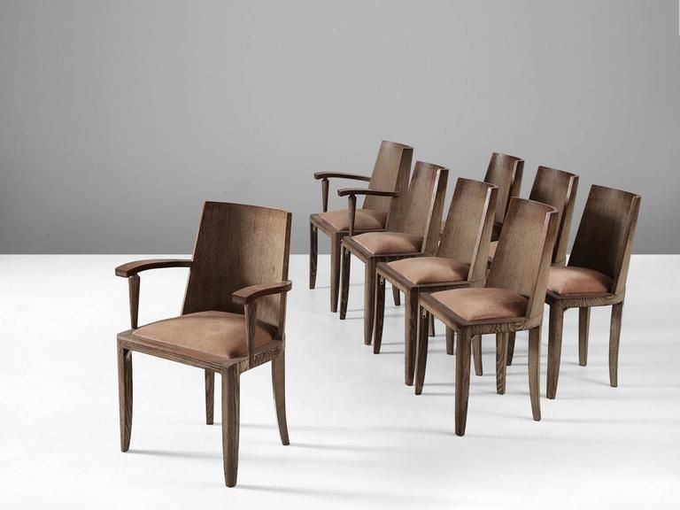 De Coene Set Of Six Dining Chairs And Two Armchairs In Cerused Oak