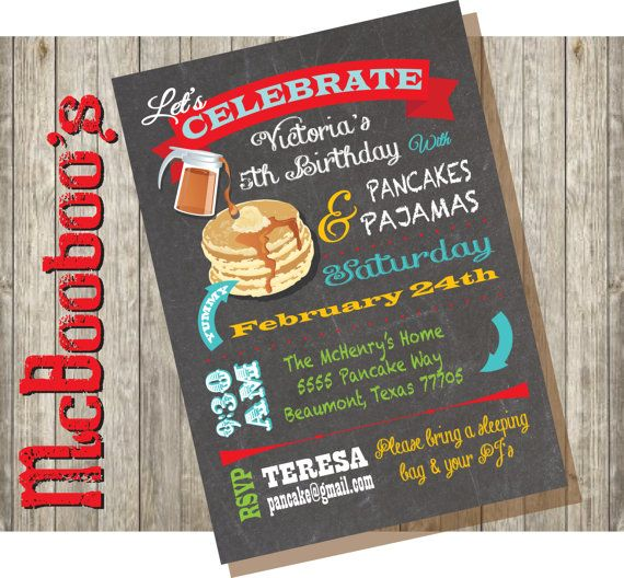 cdfd403943 Chalkboard Pancakes and Pajamas Birthday Party Invitations. Super simple to  do on your patio if you own an EVO grill