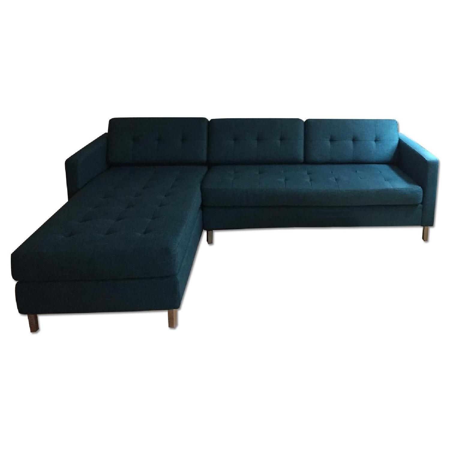 CB2 Ditto II Peacock Sectional Sofa Sofas