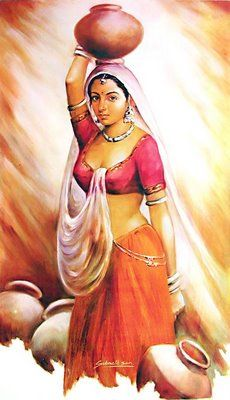 indian woman carrying water painting in 2018 pinterest indian