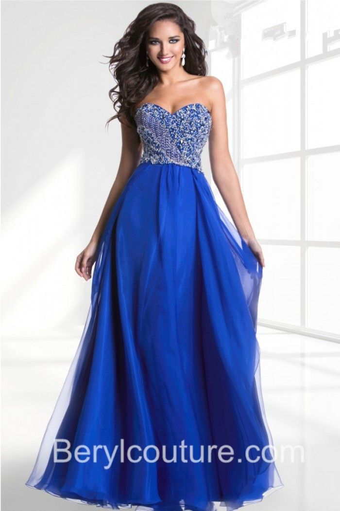 Flowing Strapless Open Back Long Royal Blue Chiffon Applique Prom ...