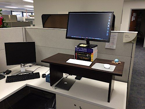 Build A Wood Standing Desk For Your Cubicle