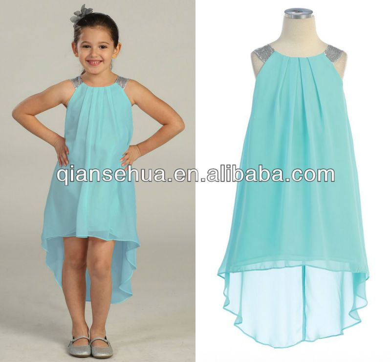 FG120 Aqua Chiffon Dress Pleated Short Front Long Back Flower Girl ...
