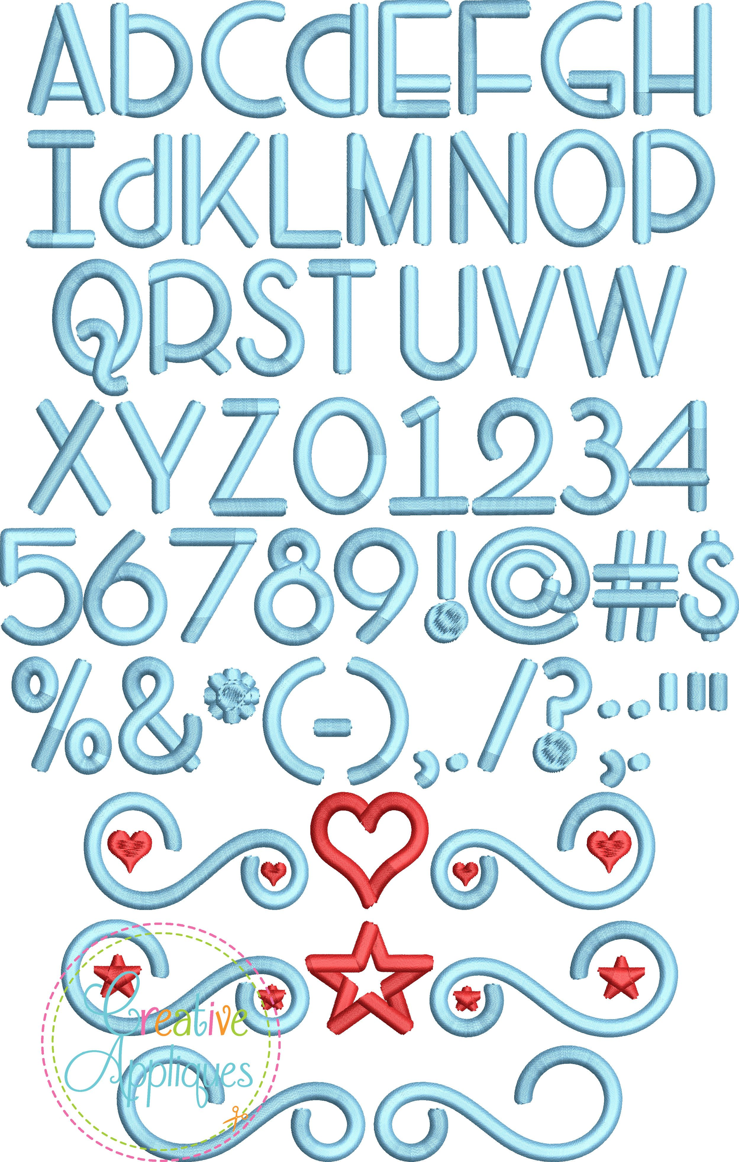 Head Versus Heart Embroidery Font Alphabet Embroidery