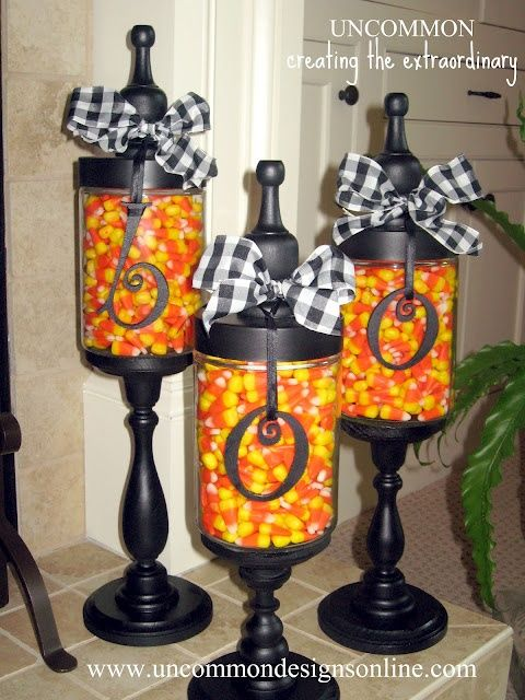 The Glass Jars Are Still At Hobby Lobby We Used The Medium Sized Ones The Candlesticks Ar Diy Halloween Decorations Halloween Apothecary Halloween Decorations