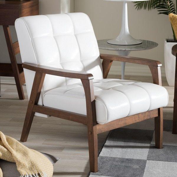 baxton studio mid-century masterpieces white club chair