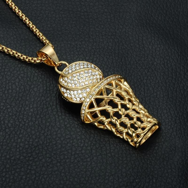 1PC Iced Out Gold Basketball Hoop Pendant Necklace with Rope Chain