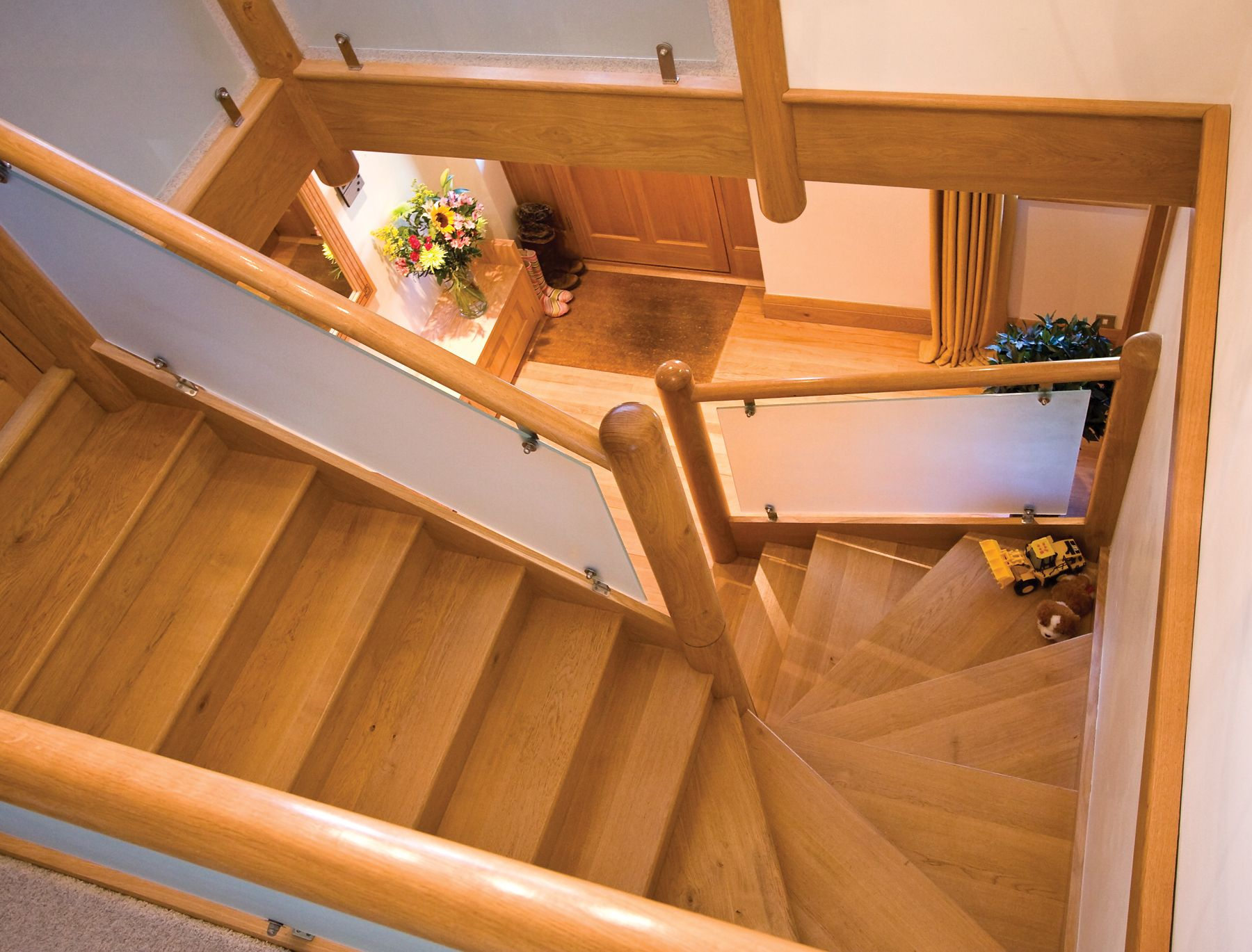Best Wooden Hall Staircase With Frosted Glass Panel Staircase 400 x 300