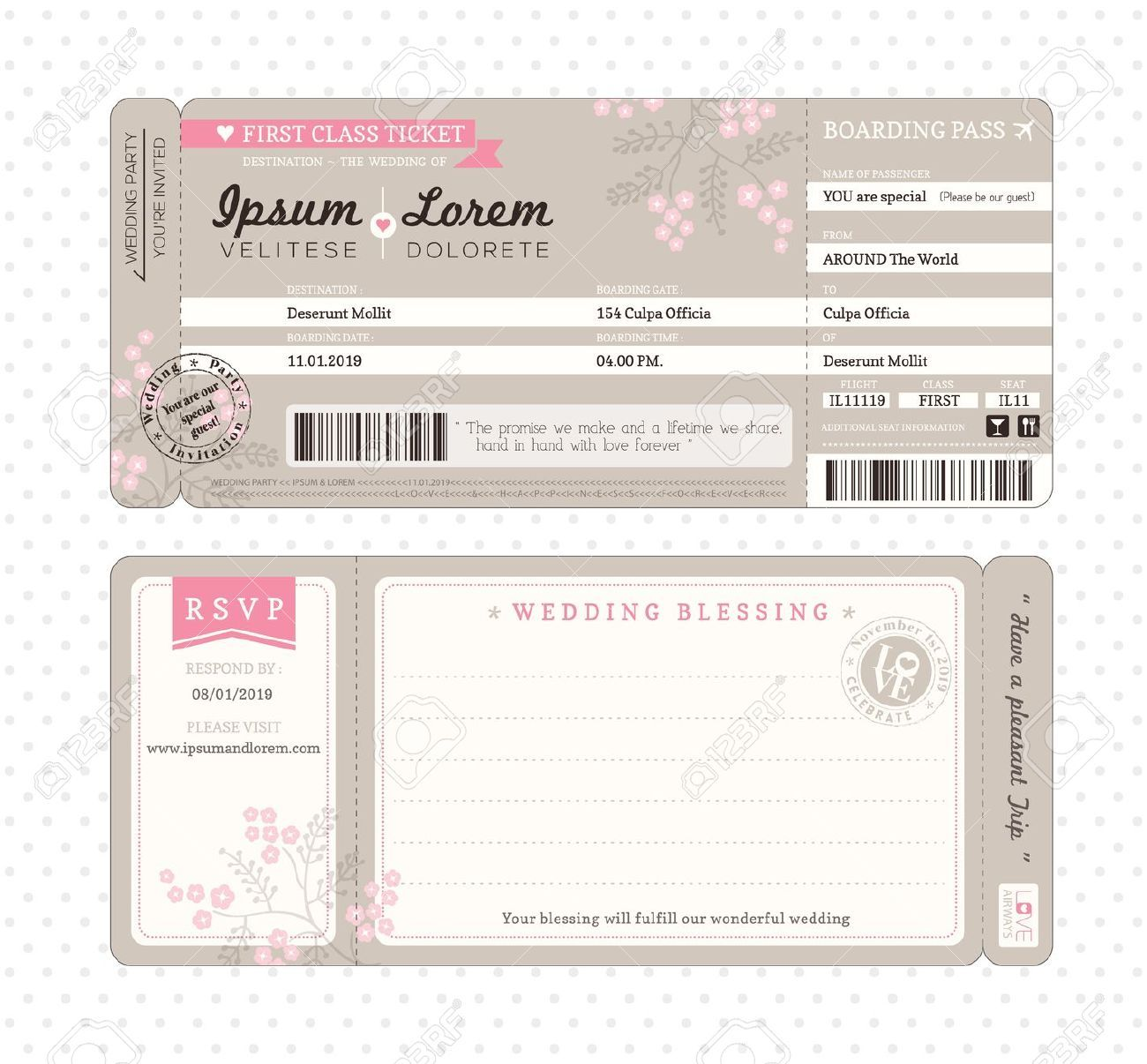 Boarding Pass Ticket Wedding Invitation Template  Boarding pass