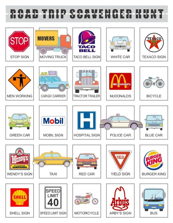 Printable Road Trip Scavenger Hunt in 2018 | Travel with Kids ...