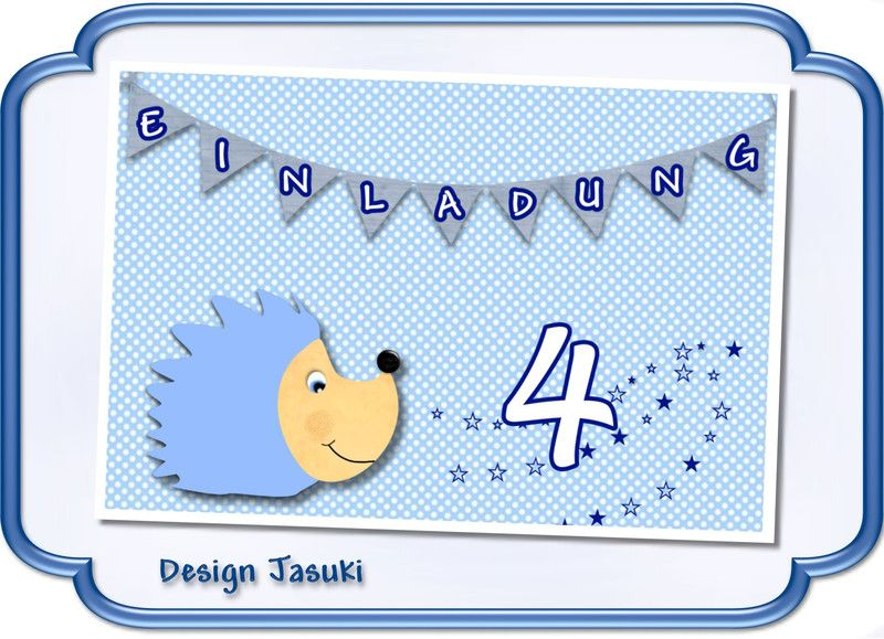 Einladung Kindergeburtstag Igel Blau