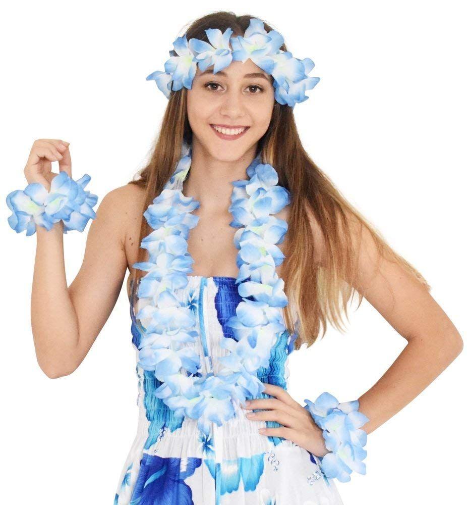 Blue Hawaiin Set Tropical Hawaii Beach Party Fancy Dress Accessory