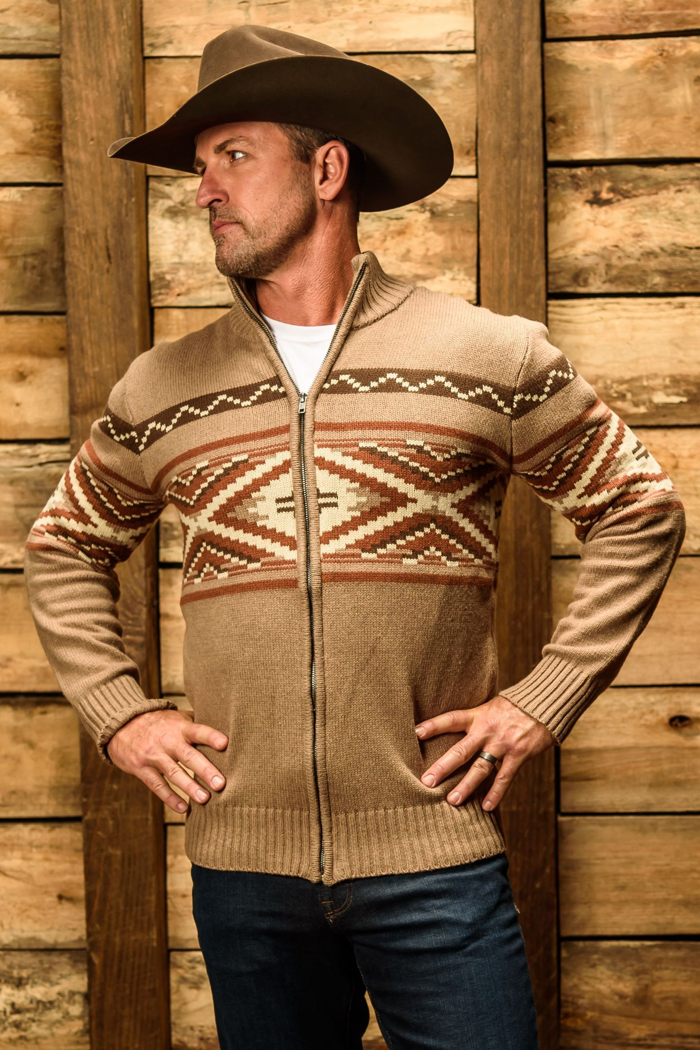 He Looks Serious But He S Thinking About Tacos Our New Stetson Outerwear Is Here To Keep Y Mens Western Jackets Mens Cardigan Sweater Western Wear Outfits [ 2160 x 1440 Pixel ]