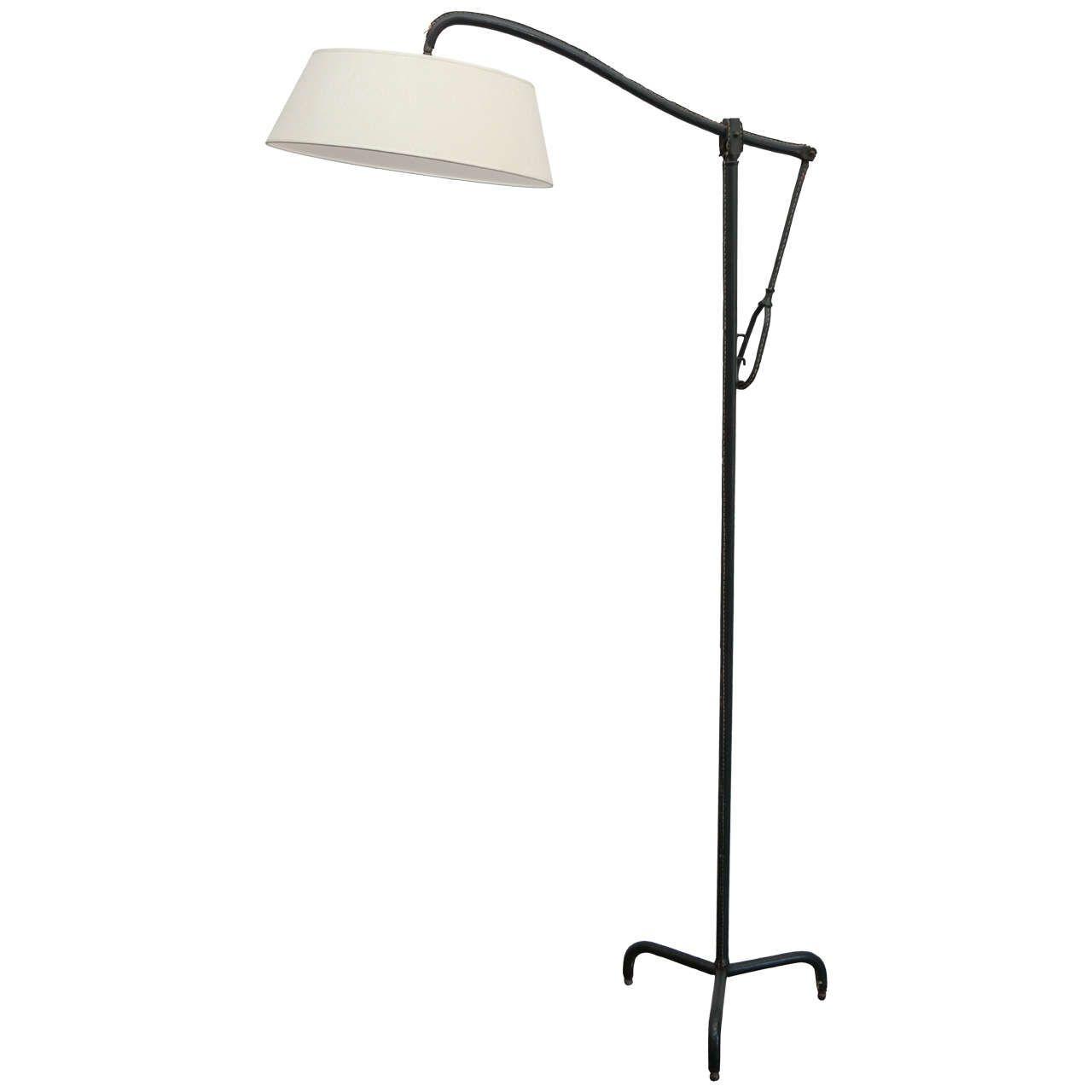 Vintage Jacques Adnet Floor Lamp In Green Stitched Hermes Leather 1stdibs Com Floor Lamp Vintage Floor Lamp Lamp