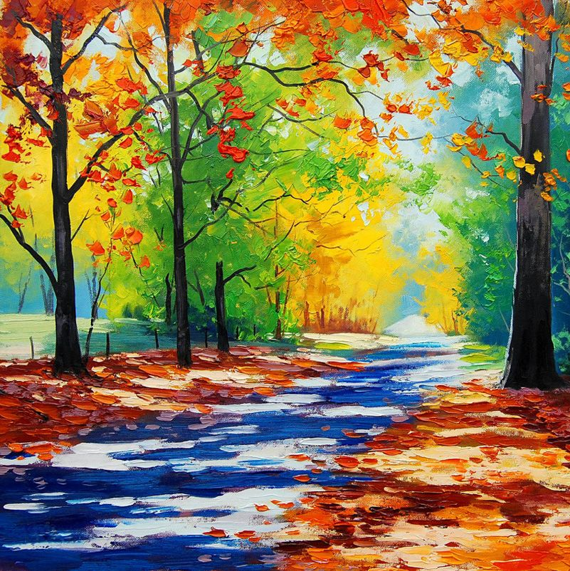 Easy Colorful Paintings Of Nature Scenery Paintings Easy Canvas Painting Autumn Painting