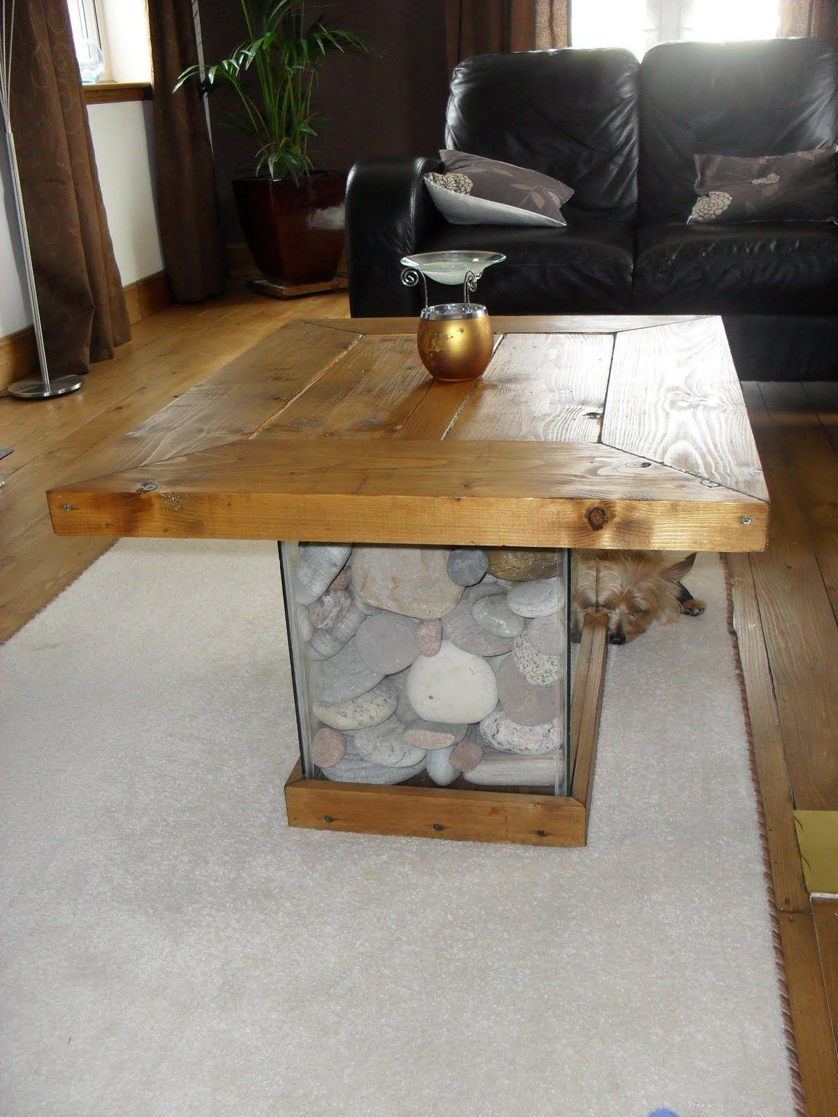 scrap wood,fish tank, pebble coffee table, handmade furniture
