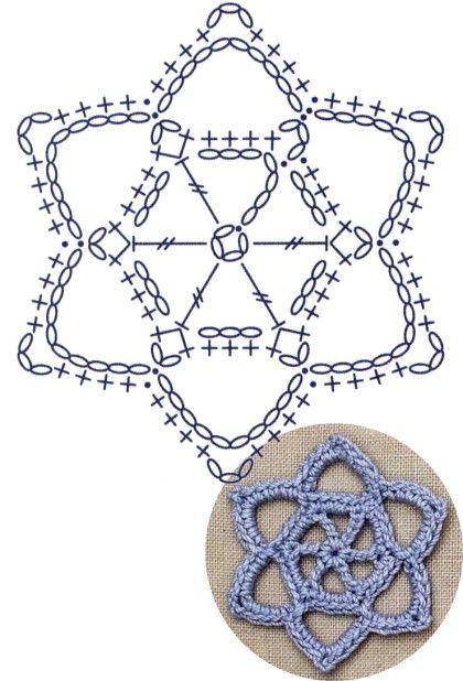 No.19 Star of David Lace Crochet Motifs / 별 모양 모티브도안 | 패턴 ...