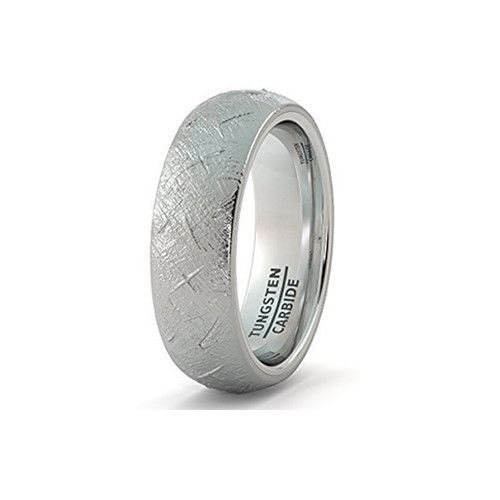 Mens Wedding Band 8mm Tungsten Ring with Imitation Meteorite Texture Dome Comfort Fit