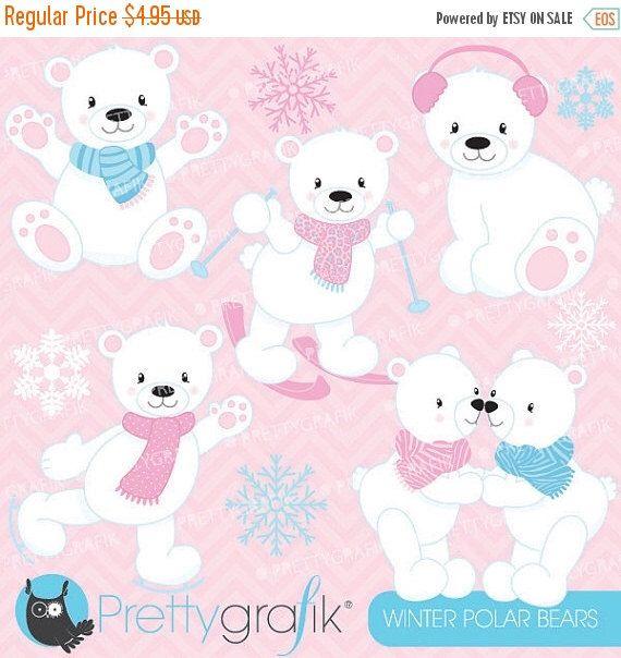 Buy 20 Get 10 Off Winter Polar Bears Clipart Commercial Use Etsy Bear Clipart Clip Art Digital Clip Art