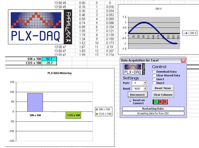 PLX-DAQ data acquisition for arduino