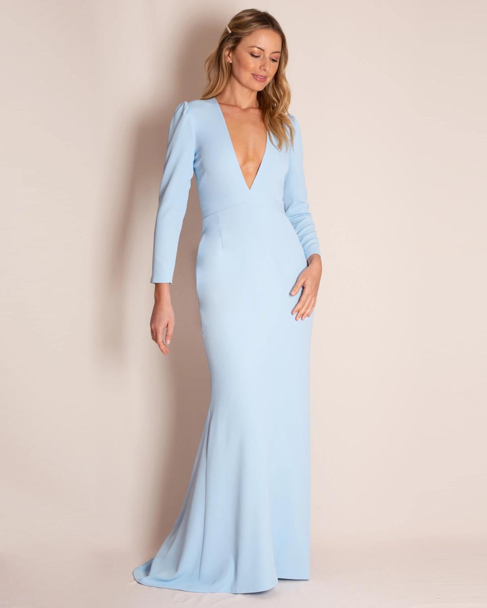 The Valerie Gown Silk Prom Dress Long Sleeve Dress Formal Long Blue Dress [ 1249 x 1000 Pixel ]