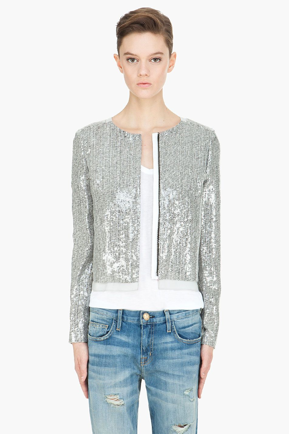 Silver Sequin Tweed DVF jacket! This looks amazing with a white ...