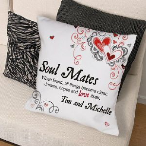 Personalized Soul Mates Throw Pillow $19.95 at Mydearvalentine.com ...