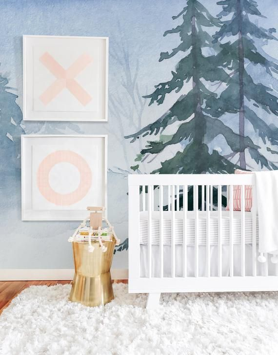 Winter forest Watercolor Removable Wallpaper, Peel and