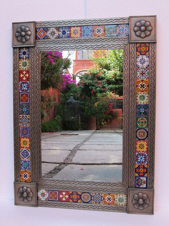 tin talavera mirror punched mexican folk art mirrors wall hanging mirrors on etsy. Black Bedroom Furniture Sets. Home Design Ideas