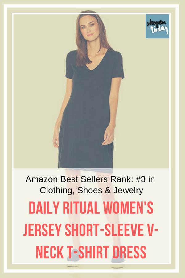 32dec098fd0 Daily Ritual Women s Jersey Short-Sleeve V-Neck T-Shirt Dress